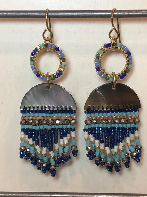Shell tasseled Blue Earrings