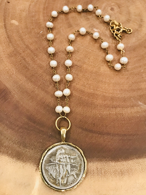 Gold Rim Silver Coin Necklace with Pearl Necklace