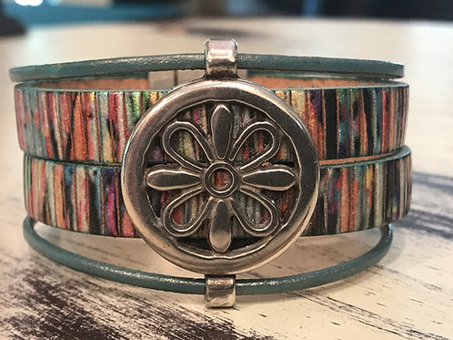 Leather Cuff Bracelet with Flower Slider