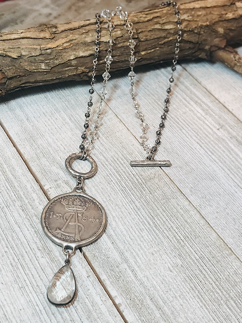 Coin Necklace with Crystal Teardrop-Wear Long or Short