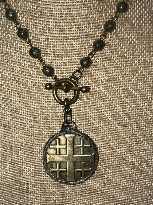 Cross coin with toggle and pyrite rosary chain