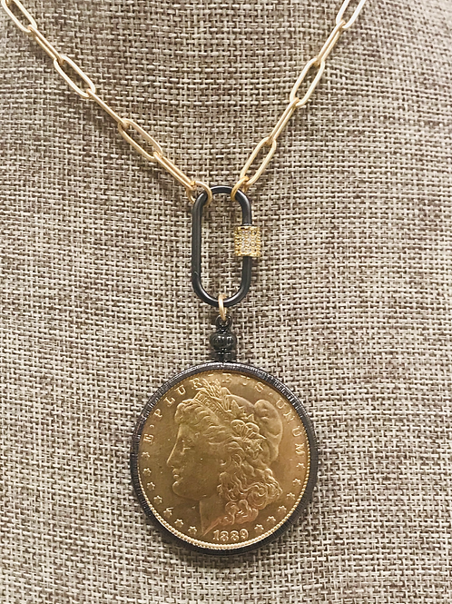 Black Bezeled Coin Necklace with Carabiner Clasp