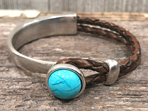 Silver bar turq bracelet with brown braid