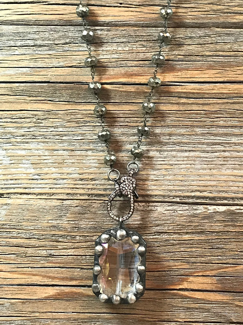 Soldered dot Crystal necklace with pyrite chain