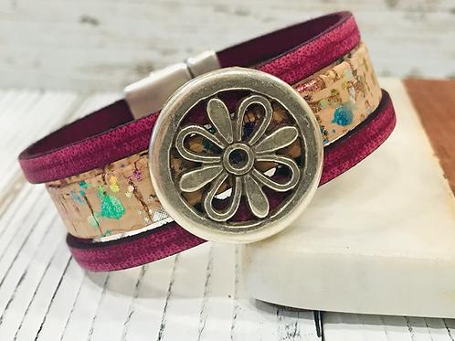 Magenta Leather and Flecked Portuguese Cork Bracelet