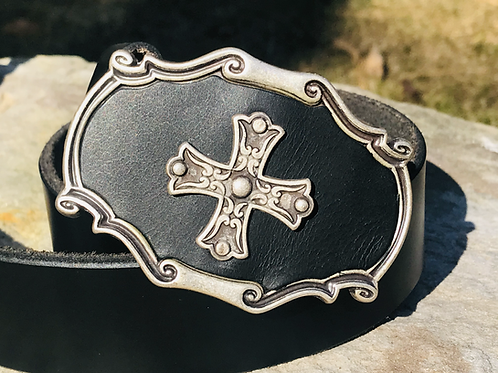 Celtic cross with black leather belt buckle