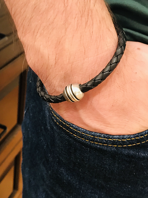 Men's Braided Leather Bracelet with Silver Barrel Magnet