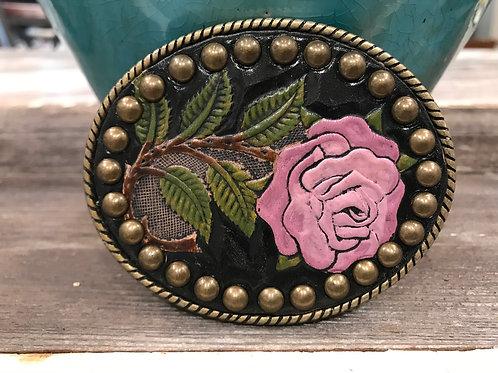 Leather Rose Belt Buckle