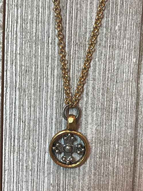 Mixed Metal Cross Necklace