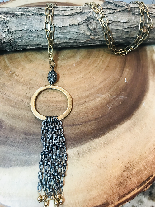 Matte gold ring with pave bead and matte chain tassel
