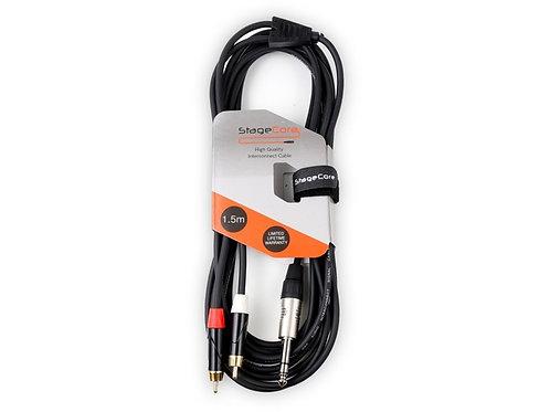 iCORE 300 6.35mm Stereo Jack Plug - 2 x Male RCA Phono Plugs