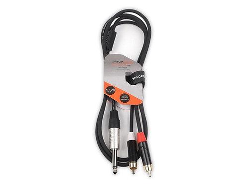 iCORE 290 6.35mm Mono Jack Plug - 2 x Male RCA Phono Plugs