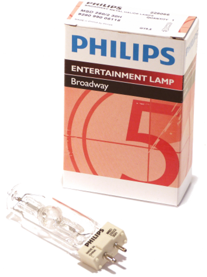 MSD 250/2 250W Metal Halide S/Ended GY9.5 Philips Entertainment Lamp