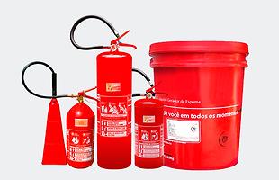 Extintor de Água, CO2 (Gás Carbônico) , PQS (Pó Químico) e LGE (Líquido Gerador de espuma)