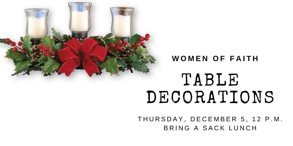 Women of Faith table decorations