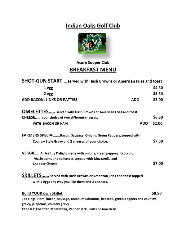 Indian Oaks Bar Grill Breakfast Menu 201