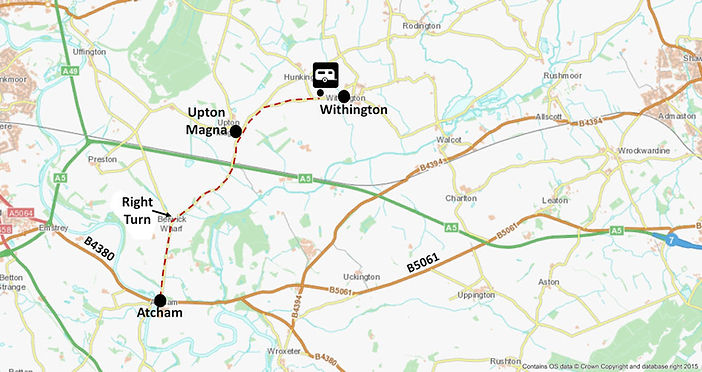 Map showing route to Wrekin View caravan park