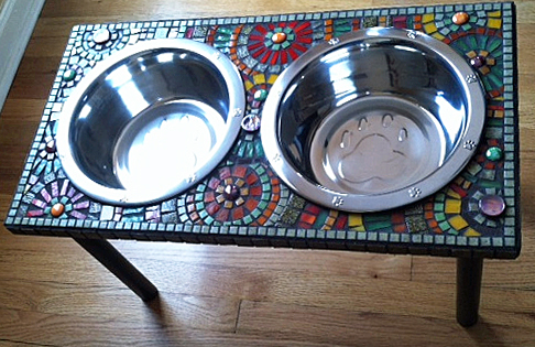 lily's mosaic dog bowl