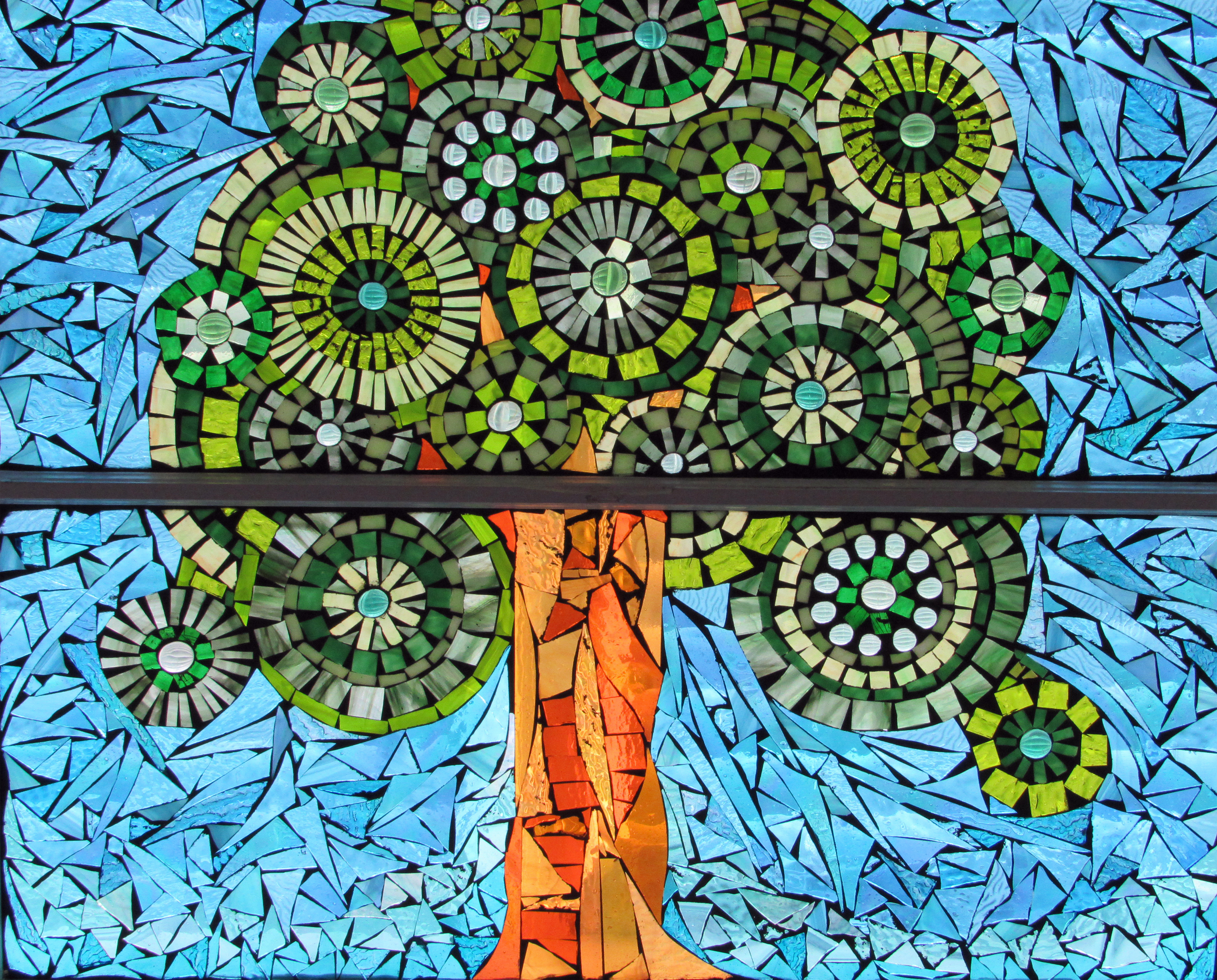 tree mosaic window
