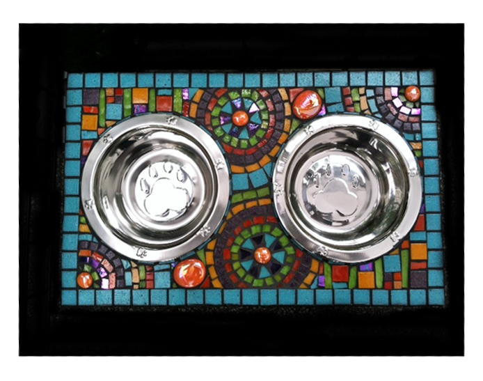 aqua mosaic dog bowl