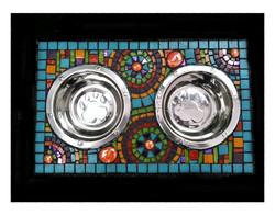 aqua mosaic dog bowl
