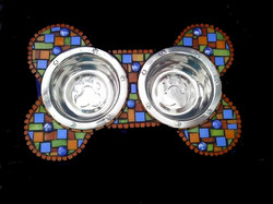 bone mosaic dog bowl