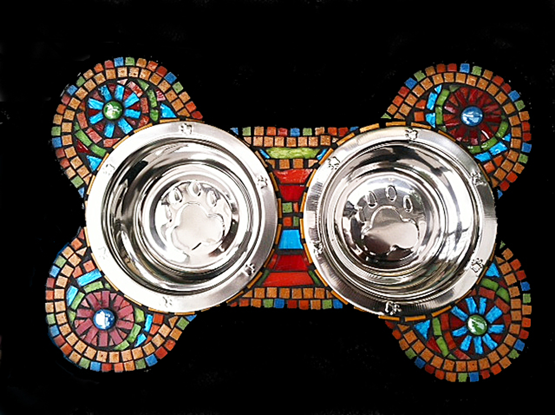 rainbow bone mosaic dog bowl
