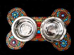 rainbow bone mosaic dog bowl