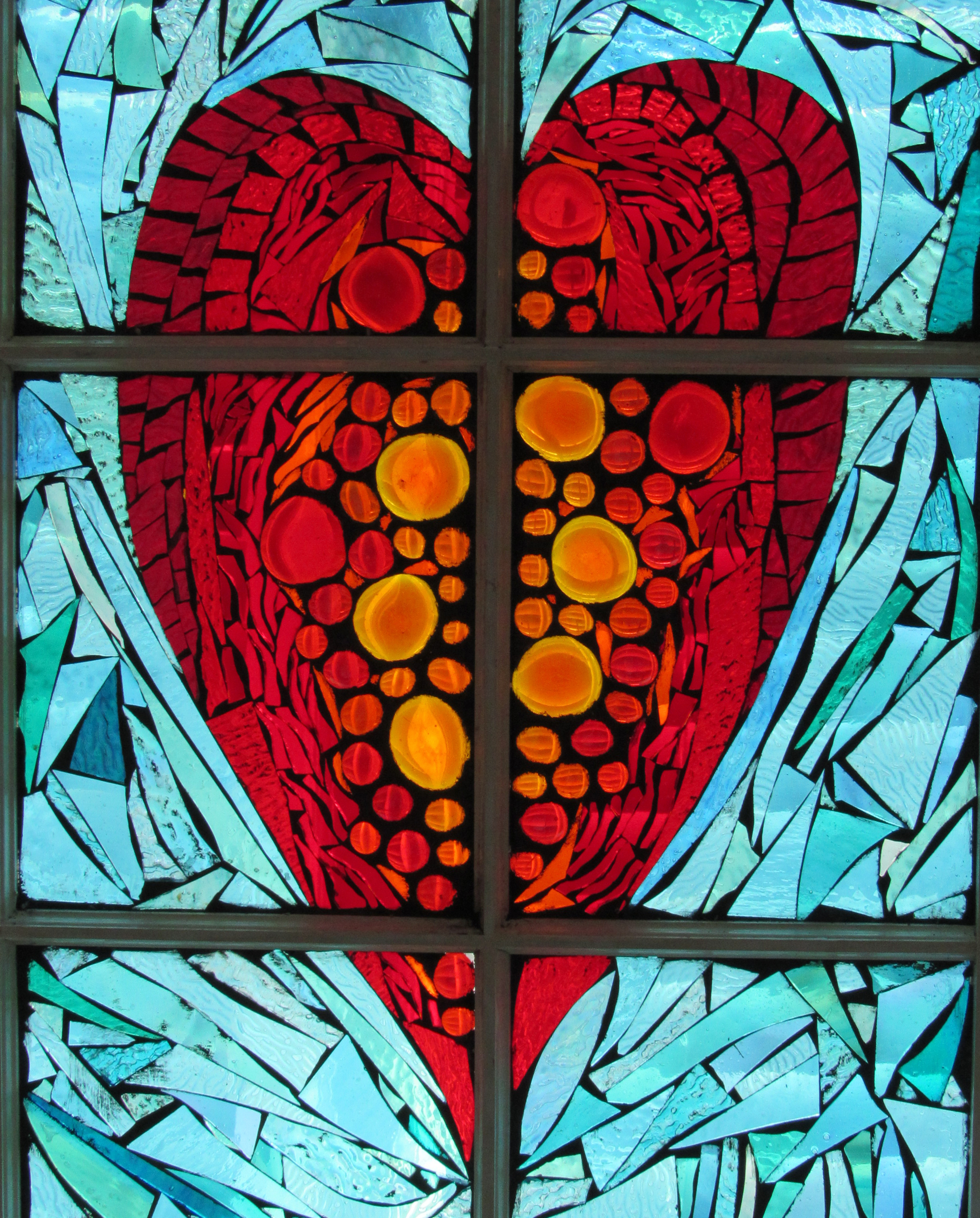 heart mosaic window