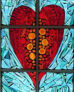 heart mosaic window