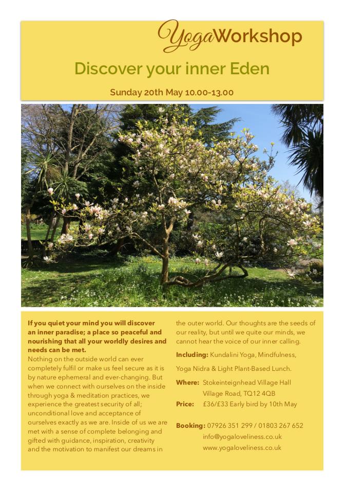 Next Yoga Workshop Sunday 20th May