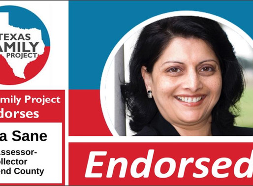 Texas Family Project Endorses Neeta Sane for Tax Assessor-Collector of Fort Bend County