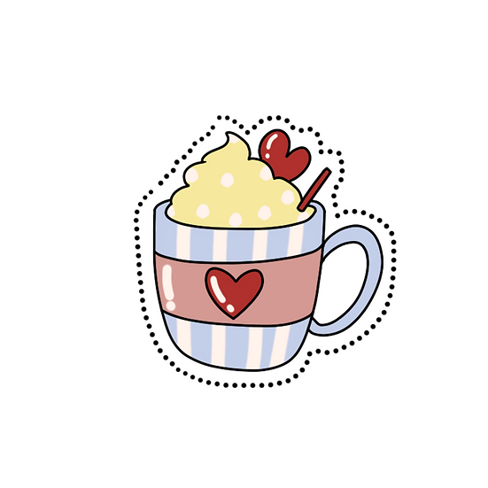 Creamy Coffee Clipart - Valentine's Day PNG Transparent Image - Instant Download