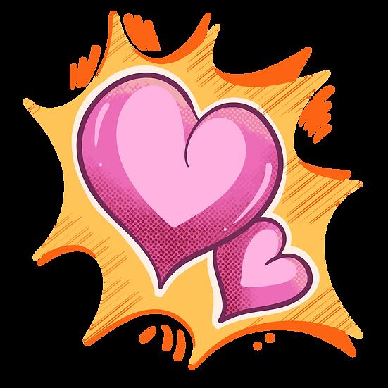 Pink Hearts Pop Art Style - Free PNG Images, Transparent Image Digital Download
