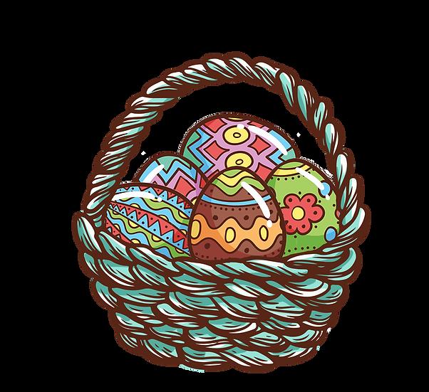 Wooden Basket with Easter Eggs - PNG Transparent Image - Instant Download