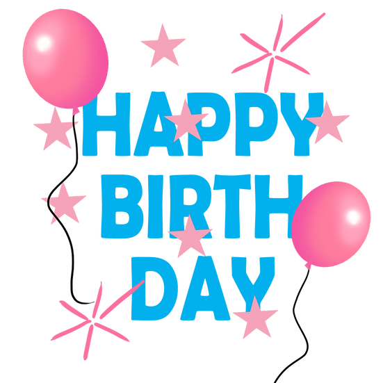 Happy Birthday Cute Clipart - PNG Transparent Image - Digital Download