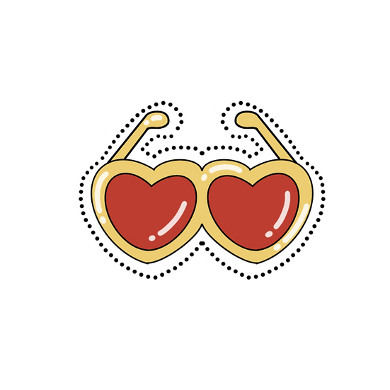 Heart-Shaped Sunglasses Clipart - Valentine's Day PNG Image - Instant Download