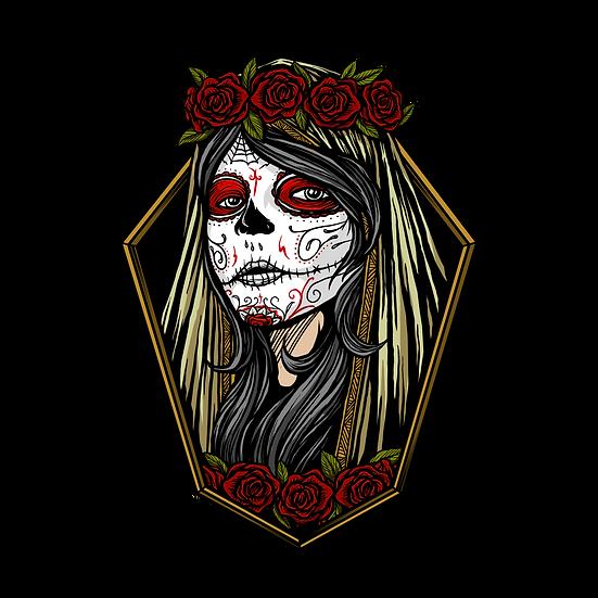 Halloween Santa Muerte Girl Printables PNG Image  - Editable / Downloadable