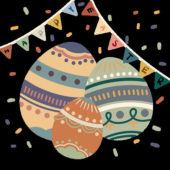 Happy Easter Eggs - Easter PNG Transparent Image - Instant Download