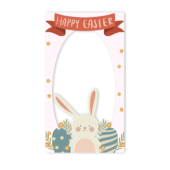 Happy Easter Frame with Bunny - PNG Transparent Image - Instant Download