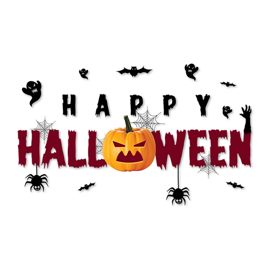 Happy Halloween Inscription Printables PNG Image  - Editable / Downloadable