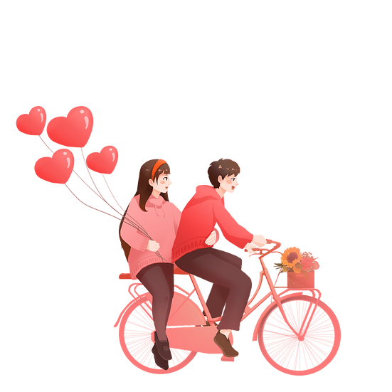 Couple in Love Riding A Bike - Valentine's Day PNG Image - Instant Download