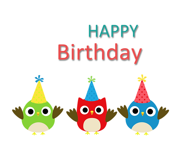Birthday Clipart with Owls - PNG Transparent Image - Digital Download