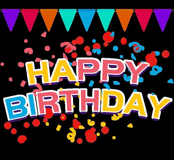 Festive Birthday Greeting Card - PNG Transparent Image - Digital Download