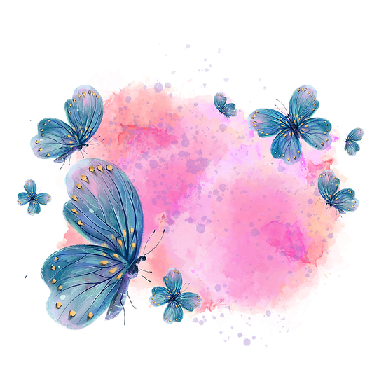 Butterflies with Pink Smoke - Free PNG Image, Transparent Image Instant Download