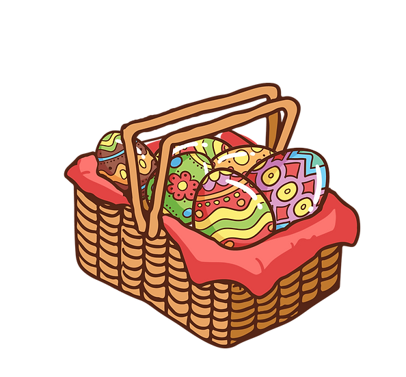 A Basket with Easter Eggs - Easter PNG Transparent Image - Instant Download