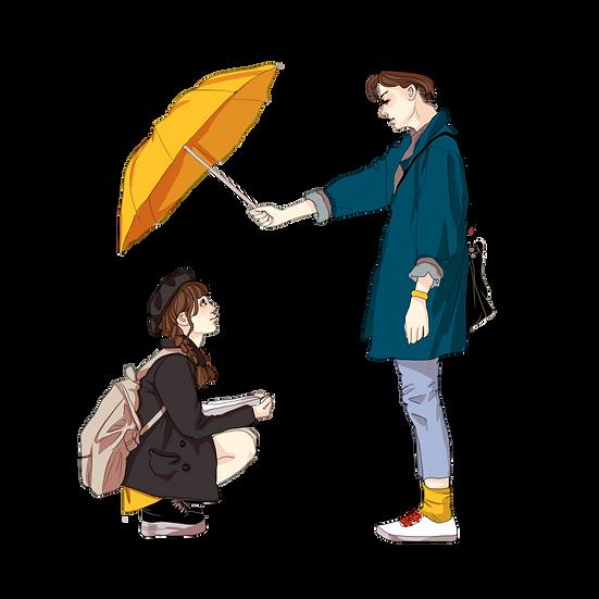Boy Hidden Girl from Rain - Valentine's Day Transparent Image - Instant Download