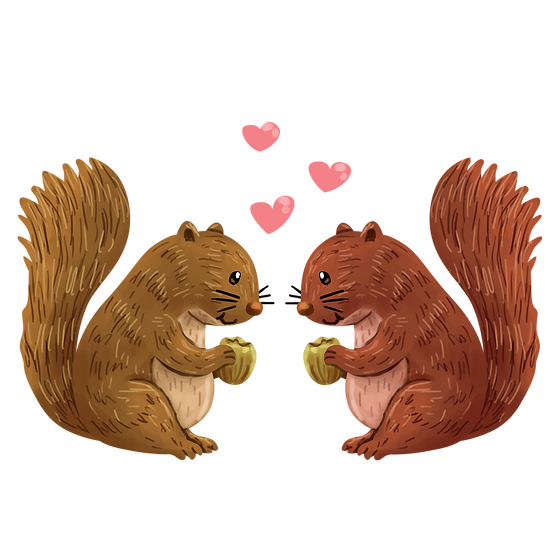 Love Story of Squirrels - Valentine's Day Transparent Image - Instant Download