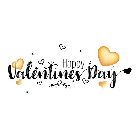 Happy Valentine's Day Black Inscription PNG Transparent Image - Instant Download