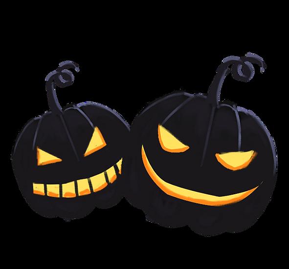 Black Halloween Pumpkins Printables PNG Image  - Editable / Downloadable